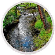 Bow River Near Lake Louise Campground In Banff National Park-ab Round Beach Towel