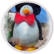 Bow Tie Penguin Photo Art Round Beach Towel
