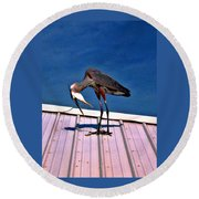 Bowing Blue Heron Round Beach Towel