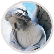 Bowing Male Angel With Blue Sky And Clouds Round Beach Towel