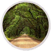 Bowing Oak Trees Round Beach Towel