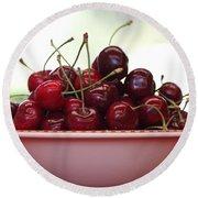 Bowl Of Cherries Closeup Round Beach Towel