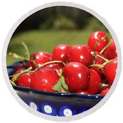 Bowl Of Cherries In The Garden Round Beach Towel