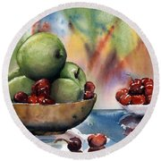 Apples In A Wooden Bowl With Cherries On The Side Round Beach Towel