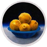 Bowl Of Lemons Round Beach Towel