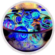 Bowl Of Marbles Round Beach Towel