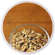 Bowl Of Shelled Walnuts Round Beach Towel