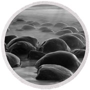 Bowling Ball Beach Bw Round Beach Towel