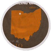 Bowling Green State University Falcons Ohio College Town State Map Poster Series No 021 Round Beach Towel