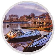 Bowling Harbour 03 Round Beach Towel