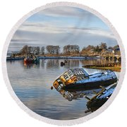 Bowling Harbour Panorama 01 Round Beach Towel