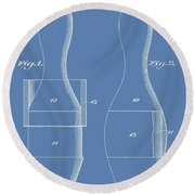 Bowling Pins Patent On Blue Round Beach Towel