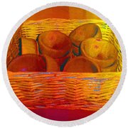 Bowls In Basket Moderne Round Beach Towel