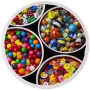 Bowls Of Buttons And Marbles Round Beach Towel