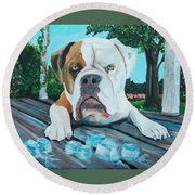 Bowser On Ice Round Beach Towel