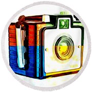 Box Camera Pop Art 3 Round Beach Towel