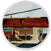 Box Factory Round Beach Towel by Edward Hopper