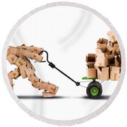 Box Character Moving Boxes On Trolley Round Beach Towel