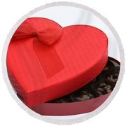 Box Of Chocolates Round Beach Towel