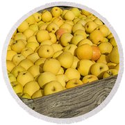 Box Of Golden Apples Round Beach Towel