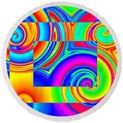 Boxed Rainbow Swirls 1 Round Beach Towel