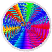 Boxed Rainbow Swirls 2 Round Beach Towel
