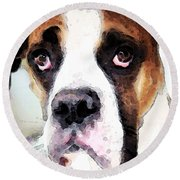 Boxer Art - Sad Eyes Round Beach Towel by Sharon Cummings