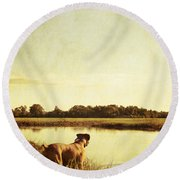 Boxer Dog By The Pond At Sunset Round Beach Towel by Stephanie McDowell