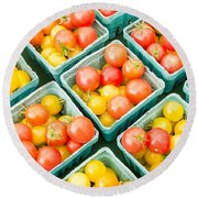 Boxes Of Cherry Tomatoes On Display Round Beach Towel