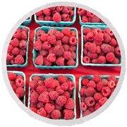 Boxes Of Fresh Red Raspberries Round Beach Towel