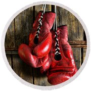 Boxing Gloves - Now Retired Round Beach Towel