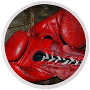 Boxing Gloves Round Beach Towel by Paul Ward