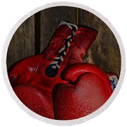 Boxing Gloves Worn Out Round Beach Towel by Paul Ward