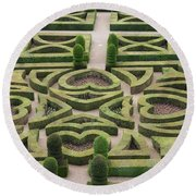 Boxwood Garden - Chateau Villandry Round Beach Towel