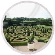 Boxwood Garden Design - Chateau Villandry Round Beach Towel