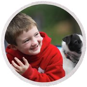 Boy, Age 6, Smiling With Jack Russell Round Beach Towel