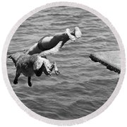 Boy And His Dog Dive Together Round Beach Towel