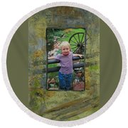 Boy By Fence Round Beach Towel