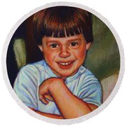 Boy In Blue Shirt Round Beach Towel