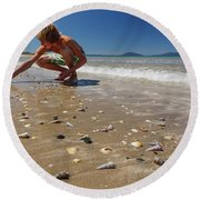 Boy Picking Seashells On The East Coast Round Beach Towel