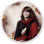 Boy Sitting On Autumn Leaves Artistic Portrait Round Beach Towel by Oleksiy Maksymenko