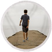 Boy Walking On Concrete Beach Pier Round Beach Towel
