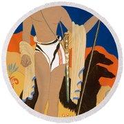 Boy Warrior With Two Borzoi Hounds Round Beach Towel