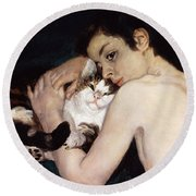 Boy With A Cat Round Beach Towel by Pierre-Auguste Renoir