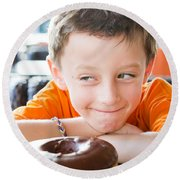 Boy With Donut Round Beach Towel