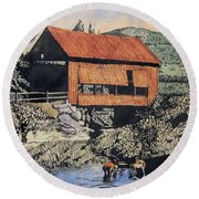 Boys And Covered Bridge Round Beach Towel