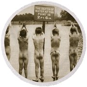 Boys Bathing In The Park Clapham Round Beach Towel by English Photographer