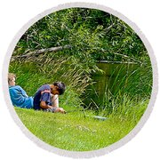 Boys Fishing In Pipestone National Monument-minnesota Round Beach Towel