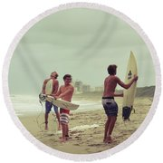 Boys Of Summer Round Beach Towel by Laura Fasulo