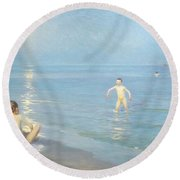 Boys On The Seashore In A Summer Night At Skagen 1899  Round Beach Towel